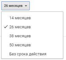 варианты сроков хранения данных Google Analytics