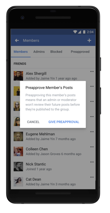 facebook preapproved members