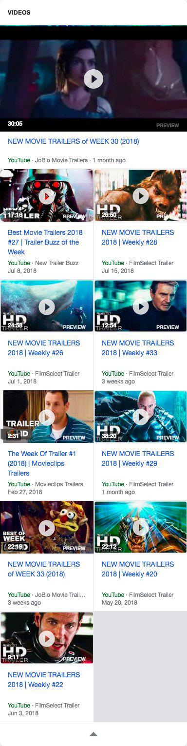 google новое оформление блока видео